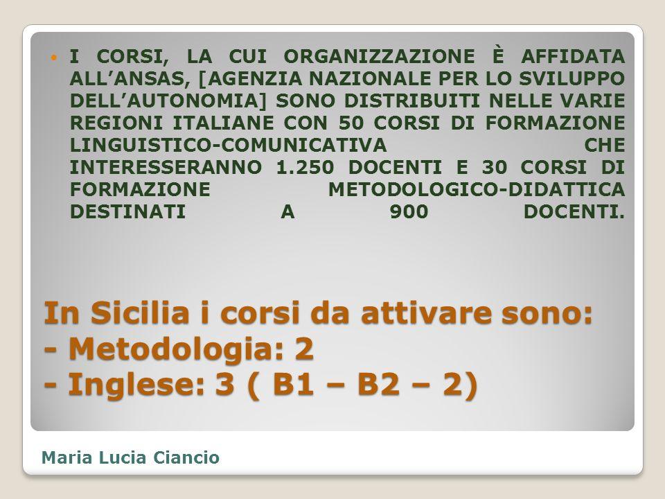 I CORSI, LA CUI ORGANIZZAZIONE È AFFIDATA ALL'ANSAS, [AGENZIA NAZIONALE PER LO SVILUPPO DELL'AUTONOMIA] SONO DISTRIBUITI NELLE VARIE REGIONI ITALIANE CON 50 CORSI DI FORMAZIONE LINGUISTICO-COMUNICATIVA CHE INTERESSERANNO 1.250 DOCENTI E 30 CORSI DI FORMAZIONE METODOLOGICO-DIDATTICA DESTINATI A 900 DOCENTI.